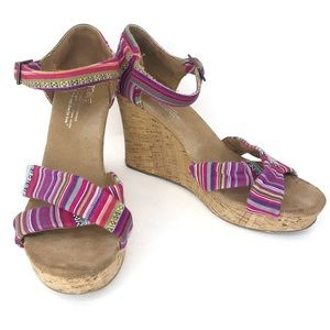 Toms Serape Striped Wedges Size 8.5W